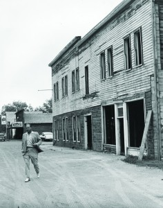 Harold walking away from Rough Rider Hotel