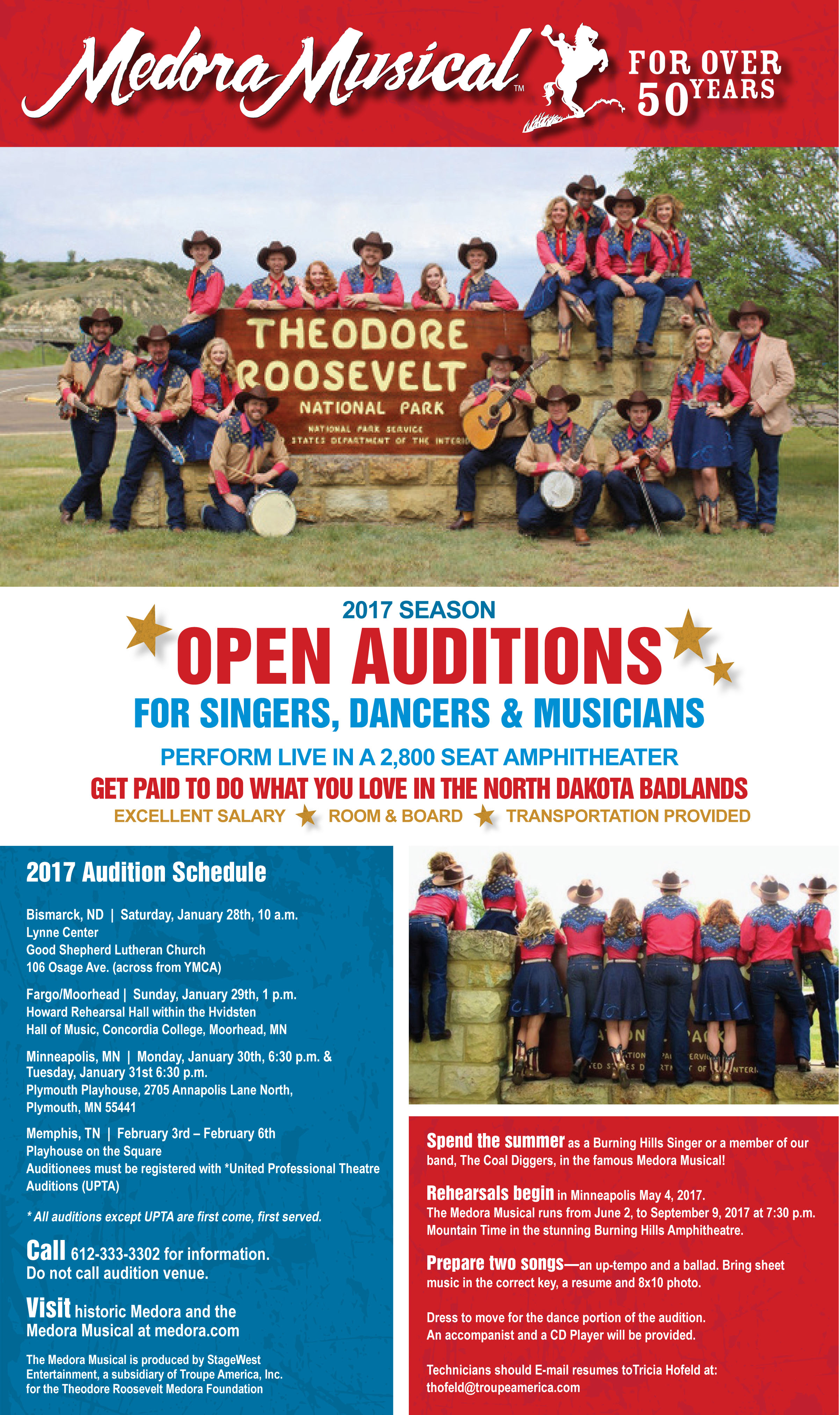 2017 Medora Musical Auditions Poster
